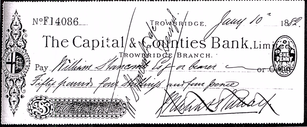 Capital & Counties Bank - Crossed Check