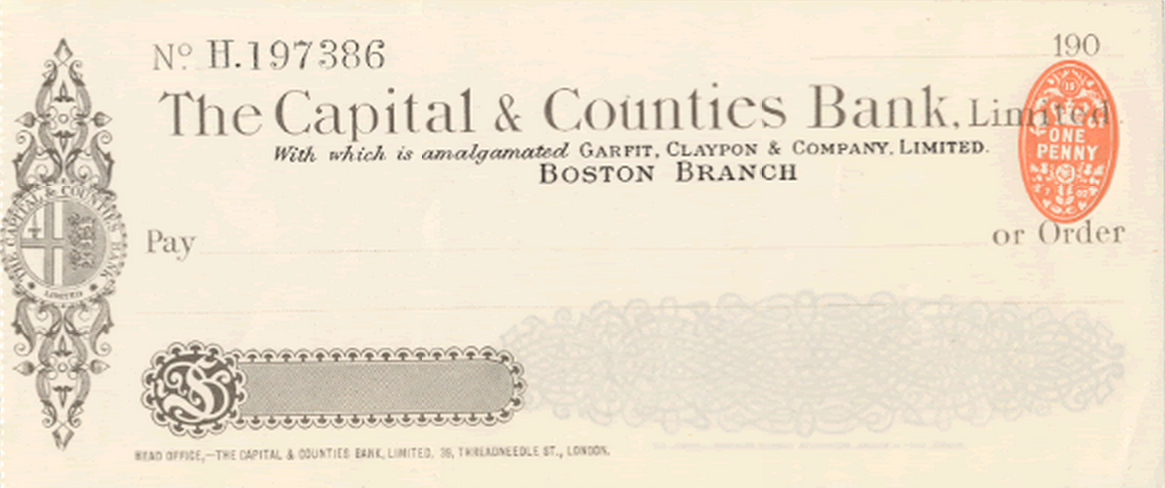 Capital and Counties Bank Check