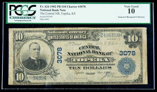 Central National Bank of Topeka 1902 $10 National Bank Note, via www.GoldbergAuctions.com