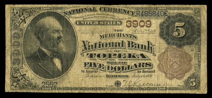 Merchants NB Topeka $5 1882 Brown Back