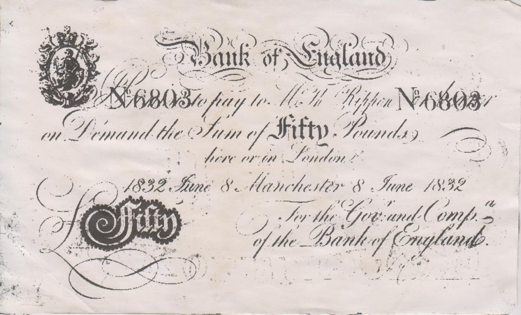 The £50 banknote - half of Rucastle's proposed salary to Violet ~ WTB COPP Evidence Box