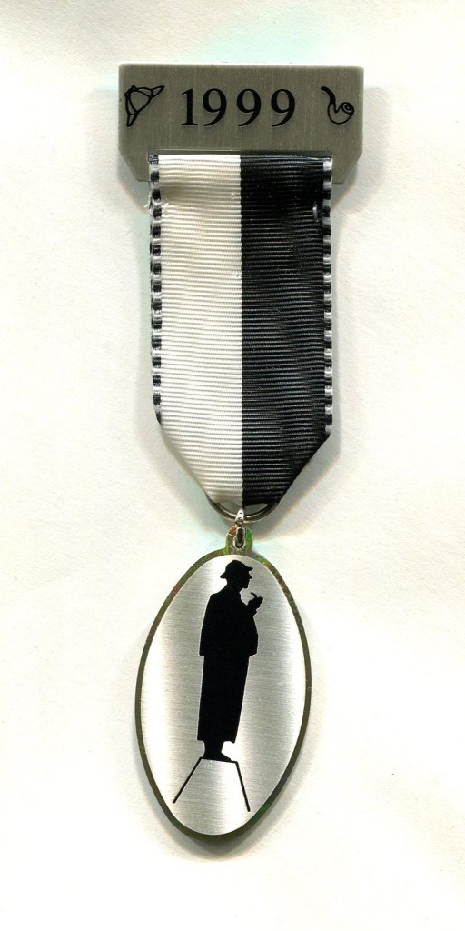 1999 SHSL Badge for the unveiling of John Doubleday's Sherlock Holmes statue outside Baker Street Station ~ Photo by Roger Johnson
