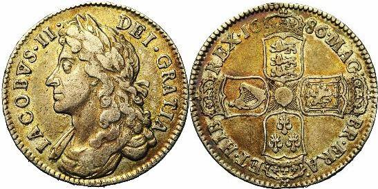 Half crown. James II. 1686