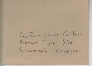 Envelope adressed to Capt Calhoun