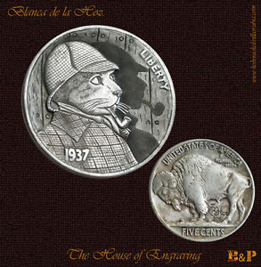Sherlock Cat 1937 Hobo Nickel b