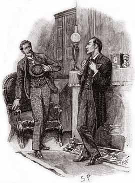 Our visitor sprang from his chair. - Illustration by Sidney Paget in The Strand Magazine, February 1893